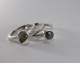 Set of three labradorite stacking rings