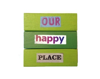 Our Happy Place | Fridge Magnets | GREEN | Home Decor | Office Magnets | Recycled Gift |  Anniversary | For Her | For Him |