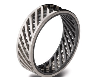 Gold Wedding Band, Men's 18K White Gold and Oxidized Silver Wedding band, steampunk, Wedding ring, black and gold ring, groom band, Grid 3