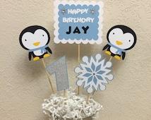 Winter Onederland Happy Birthday Centerpiece, Penguin centerpiece, Penguin Birthday, Snowflake centerpiece, Penguin 1st birthday