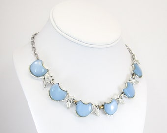 Vintage Blue Thermoset Necklace, Thermoplastic, Links, Siver Tone