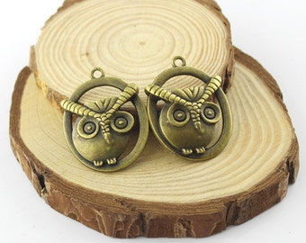5 pcs 28x36mm Antique bronze lovely owl pendant