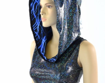 Black Shattered Glass Sleeveless Dragon Crop Hoodie with Blue Lightning Hood Liner & Silver/White Shattered Glass Spikes 152123
