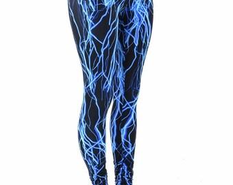 Neon Blue Lightning Print UV Glow High Waist  Leggings for Neon Run or Yoga  152231