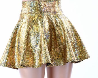 """10"""", 12"""" or 15""""Gold on Black Shattered Glass Holographic Circle Cut Mini Skirt Rave Clubwear EDM  -152272"""