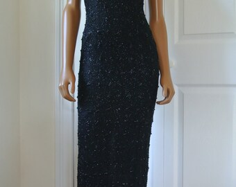 1990s Deco Party Dress Black Silk Beaded Gatsby Style Bias Cut Full Length made in India /xs/s