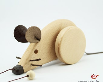 Personalized Pull Toy, Wooden Toy, Mouse, Eco Friendly, Gift for kids