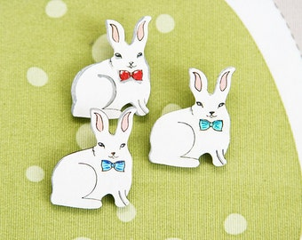 White rabbit hare wood painted brooch badge