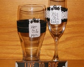 Personalized Champagne Flute and Beer Glass / Motorcycle Wedding Glasses / Biker Wedding Toasting Glass / Lace and Leather Beer Glass
