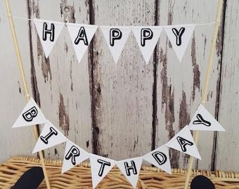 Happy Birthday Cake Topper Miniature Bunting Decoration