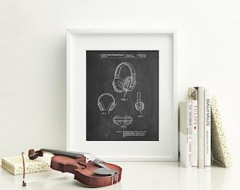 Headphones Patent Poster, Music Lover Gift, Teen Room Decor, Recording Studio, Hip Hop Art, PP0550