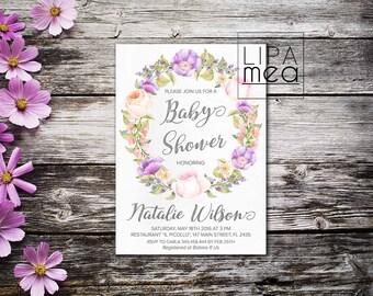 Floral Baby Shower Invitation Printable, Boho Baby Shower Invitation, Girl Baby Shower Invitation, Lilac Bohemian Baby Shower Invite Purple
