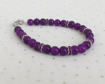 Purple Bridal Bracelet, Rhinestone Bracelet, Purple Bridesmaid Jewelry Gift, Purple Glass Beaded Jewelry, Purple Wedding Jewelry