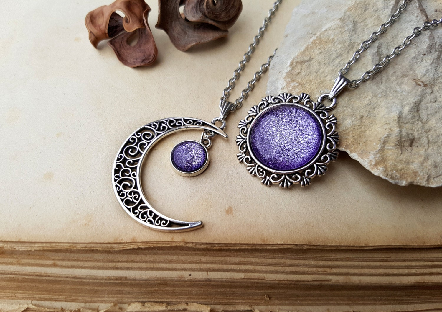 2 Sun and Moon Necklaces matching necklaces 2 friends