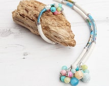 Long Boho Necklace Bracelet Set-White Blue Necklace-Boho Summer Jewelry-Crystal Gemstone Necklace Bracelet-Chunky Statement Necklace