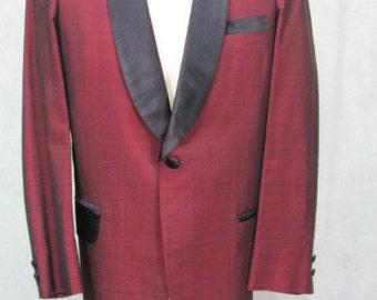 1950s Tuxedo Jacket Burgundy Fancy Coat Prom Dance Size 42R