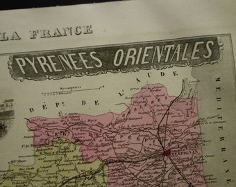 1883 antique map of Pyrénées-Orientales departement France - beautiful old hand colored print - Perpignan Saint-Estève Elne vintage poster