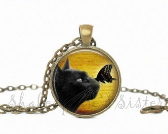 Black Cat Necklace - Butterfly Jewelry - Black Cat Jewelry - Butterfly Necklace - Art Pendant - Cat Jewelry
