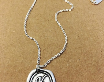 K initial letter stamped wax personalized necklace