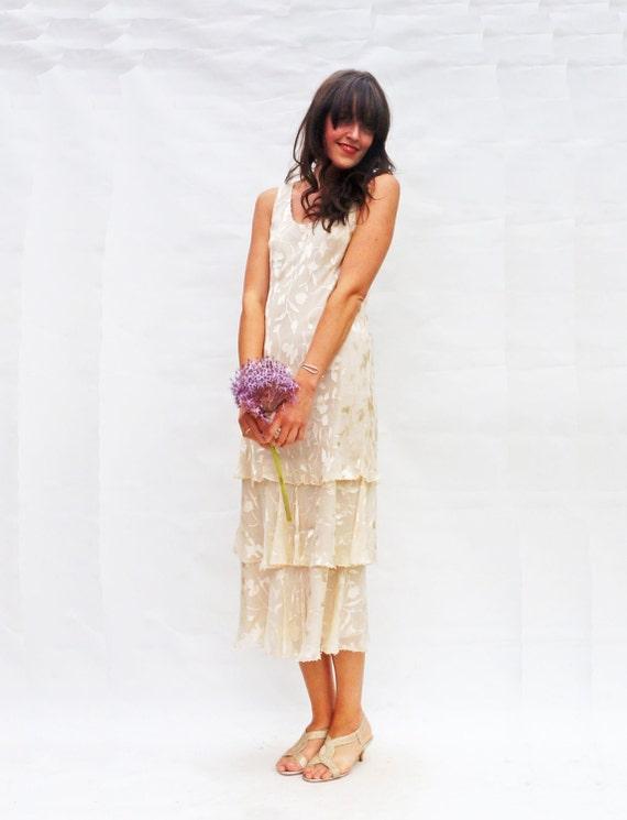 Silk Wedding Dress, Vintage 1970s Pure Silk Ivory Tiered Wedding Dress, Bohemian Wedding Dress, Flapper Wedding Dress, 70s Midi Wedding Gown