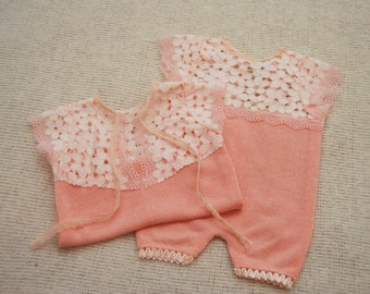Newborn Girl Romper; Lace Romper; Newborn Outfit Prop; Romper Prop; Coral Pink; Newborn Photo Prop