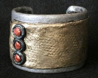 Cuff Bracelet Bangle Distressed Boho Polymer Clay Mid Century Modern Jewelry Women BUTTON DOWN by ArtCirque Donna Pellegata