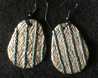 Earrings Distressed Boho Polymer Clay Metallic Industrial Jewelry Casual Dangles ARTICULATE by ArtCirque Donna Pellegata