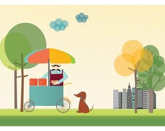 New York Central Park Print | Dog and Hotdog Illustration | NY Digital Illustration | Children's room decor | Amusing Digital Print