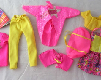 Barbie Neon Pink Yellow Mixed Clothing Lot Doll Clothing Lot Vintage