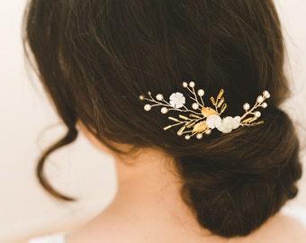 bridal comb, bridal headpiece, wedding comb, gold wedding hair accessories, small bridal comb, floral wedding comb - MARNIE
