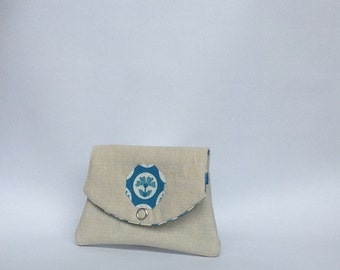 Pocket sized linen and cotton wallet