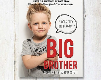 Original BIG brother announcement sign as movie poster - Gender Reveal sign - Baby boy Announcement sign - DIGITAL FILE!