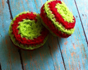 Holiday Scrubbies - Gift Set - Kitchen Scrubbies - Cleaning Scrubbie - Green and Red Nylon Scrubbie