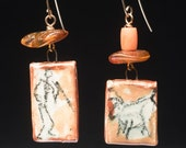 Man and Beast earrings, rustic ceramic plaques with cave-style drawings, ornamented with vintage coral and baltic amber, unique OOAK