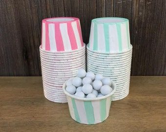 48 Mint and Pink Striped Paper Candy Cups--Nut Cups--Wedding--Baby Shower--Birthday--Pink Paper Party Goods--Mint Portion Cup