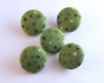 """5 - 3/4"""" Green With Yellow Polka Dots Fabric Buttons - Fabric Covered Buttons - Handmade Fabric Buttons - 19 mm Sewing Buttons #FBG-14-02"""
