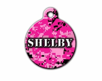 Pink Pet Tag,Pink Camoflage,Camo Pet Tag,Pink Camo,Digital Camo,Dog Id Tag,Girl Pet ID Tag,Dog gift,Made in the USA,PET_028_2
