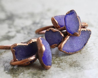 Seaglass Ring Electroformed Copper Ring Glass Ring Mermaid Ring Beach Glass Jewelry Chunky Glass Ring Sapphire Blue Cobalt