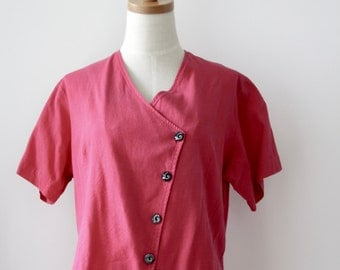 Red button up shirt. Avant Garde cotton top. Japanese style top. Magenta summer top. 80s red top. Size M