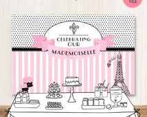 "French Parisian Printable Party Backdrop || French Party Banner Instant Download 60""x40"" 5 feet wide 