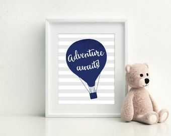Hot Air Balloon Nursery - Nursery Decor - Adventure Awaits - Hot air balloon nursery - Kids Room Decor - Nursery Wall Art - Nursery Art