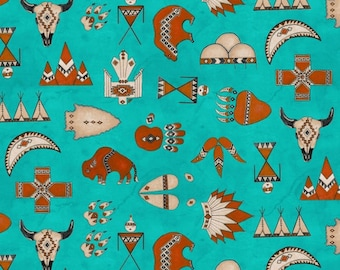 Native American Fabric, Totem Fabric - Spirit of the The Buffalo Tana Mueller for Blank Quilting  8118 Turquoise - Priced by Half yard
