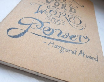 Margaret Atwood - Hand-lettered Quote Sketchbook / Notebook