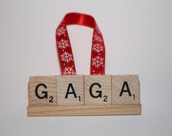 Christmas Ornament, Gaga, Gaga Ornament, Gaga Gift, Nana, Mimi Gift, Mimi Ornament, Mom, Grandma, Grammy, Ornament, Gram, Scrabble Ornament
