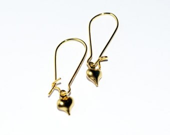 Super Cute Tiny 3D Puffy Heart Design Gold Plated Drop Earrings