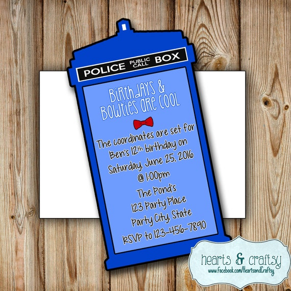 doctor who party invitation doctor who birthday invitation wedding