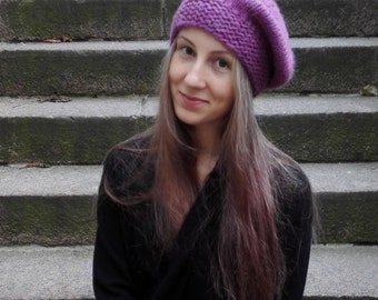 Knitted warm amethyst beret for women