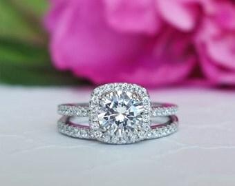 1.25 ctw Classic Square Halo Engagement Set, Man Made Diamond Simulant, Half Eternity Ring, Halo Wedding Set, Bridal Set, Sterling Silver