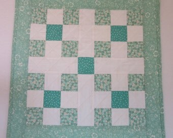 """Doll Quilt, 19"""" x 19"""", Mini Quilt, Table Topper, Mint Green, White, Flowers, Nine-patch Quilt"""