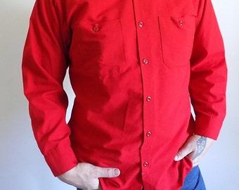 Red 1970's Vintage Men's WEAR-GUARD Shirt 1970's Long Sleeve Men's Button Shirt